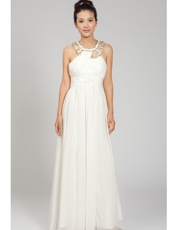 Exquisite Beaded Scoop Neck Full Length Chiffon Wedding Dresses with Crossover Draped Bodice