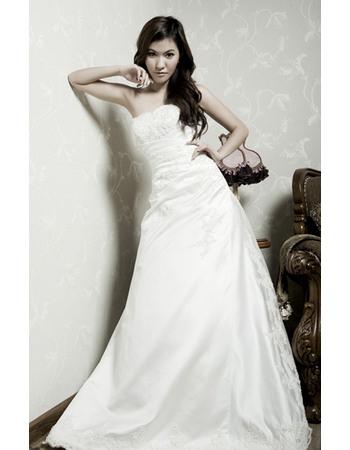 Discount A-Line Strapless Beaded Applique Satin Wedding Dresses with Asymmetrical Waistline