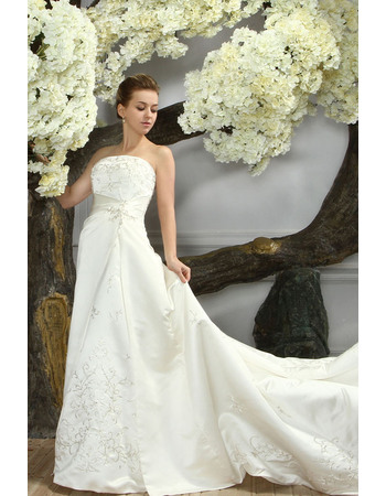 Luxury Beading Embroidery Strapless A-Line Court Train Satin Wedding Dresses