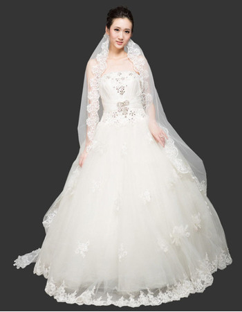 Gorgeous Ball Gown Strapless Floor Length Organza Beaded Wedding ...
