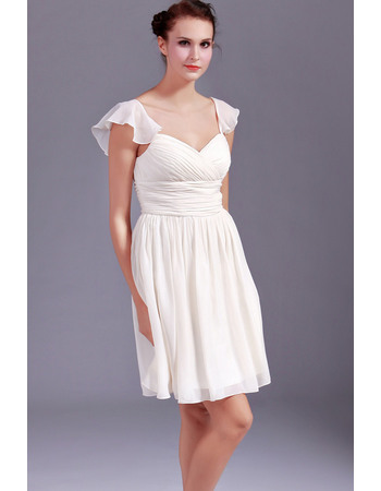 Pretty Simple Sweetheart Chiffon Bridesmaid Dresses with Pleated Bust and Skirt