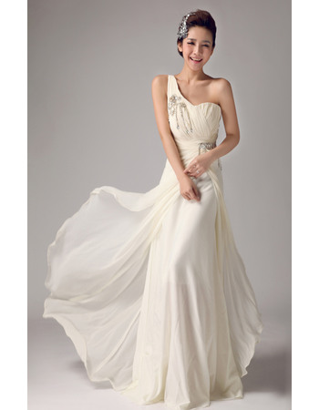 Discount Chiffon Column/ Sheath One Shoulder Beaded Floor Length Wedding Dresses