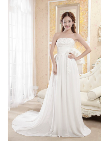 Romantic Crystal Beading Strapless Chiffon Wedding Dresses with Slimming Ruching Across Waist
