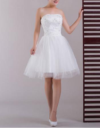 Custom Beading Appliques Strapless Satin Short Beach Wedding Dresses with Tulle Skirt