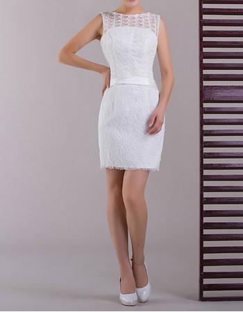 New Style Simple Bateau Neck Column Lace Mini Wedding Dresses