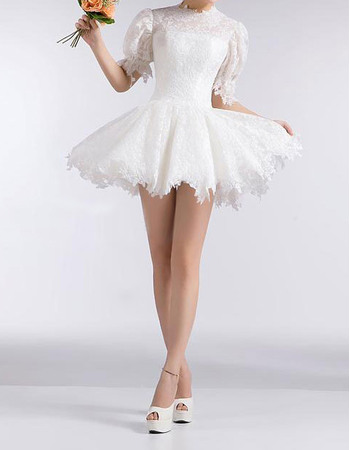 Cute Pretty Crew Neck Bubble Sleeves Short Summer Beach Lace Wedding Dresses with Tutu Skirt