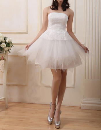 Cute A-Line Strapless Short Reception Lace Bodice Wedding Dresses with Tulle Skirt
