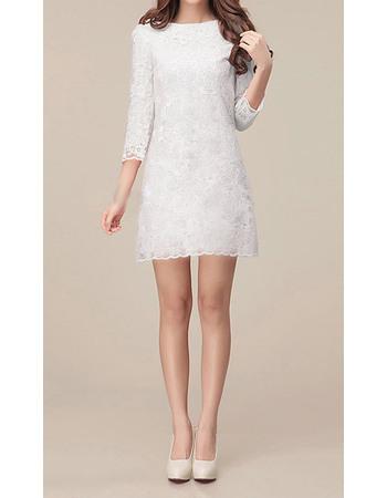 Discount Simple Long Sleeves Lace Sheath Mini Reception Wedding Dresses