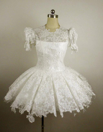 Lovely Lace Round/ Scoop Bubble Sleeves A-Line Short Reception Wedding Dresses