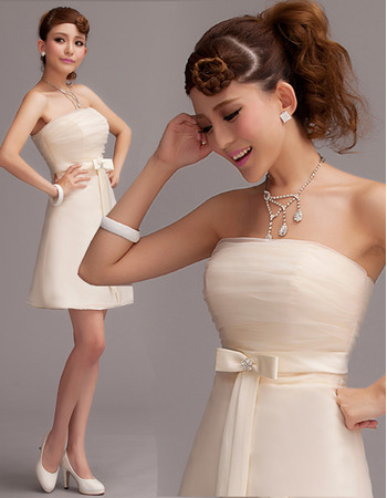Lovely Simple A-Line Strapless Short Beach Organza Wedding Dresses