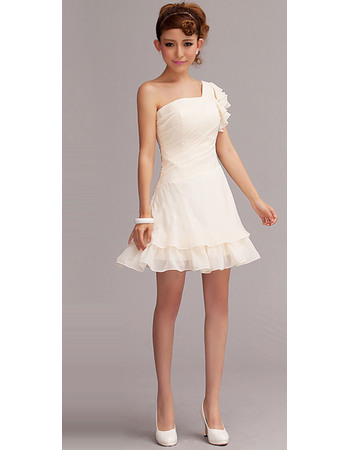 Affordable A-line One Shoulder Chiffon Ruffle Short Beach Wedding Dresses