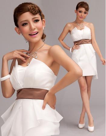 Chic Column Strapless Satin Wedding Dresses with Organza Split-front Overlay
