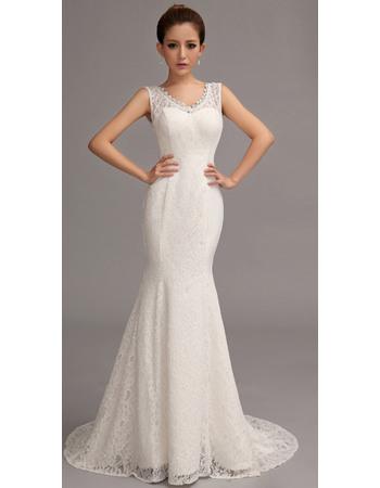 Simple and Elegant Mermaid V-Neck Floor Length Lace Wedding Dresses