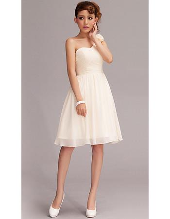 Simple One Shoulder A-Line Short Chiffon Bridesmaid Dresses