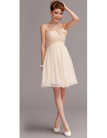 Discount Simple Strapless Ruched Bodice Sweetheart Chiffon Mini Bridesmaid Dresses