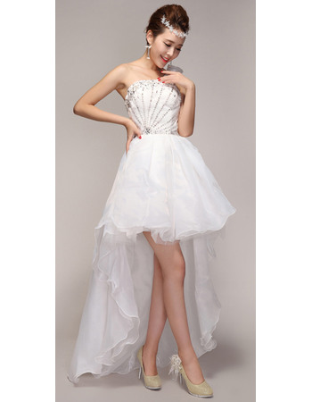 Shimmering Crystal Beading Bodice High-Low Organza Wedding Dresses with One Shoulder Flower Strap