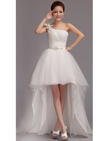 Pretty High-Low One Shoulder Tulle Wedding Dresses with Crystal embellished waistline