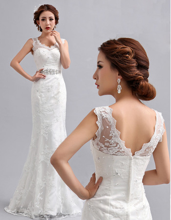 Delicate Mermaid Floor Length V-Neck Lace Wedding Dresses with Crystal Detail