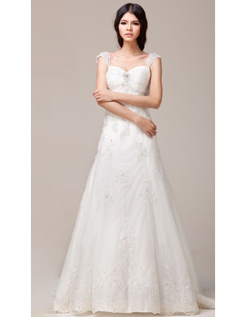 Exquisite Beading Appliques A-Line Brush Train Tulle Wedding Dresses with Slight Cap Sleeves