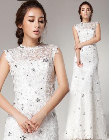 Shimmering Crystal Embellished Sheath Jewel Neckline Lace Wedding Dresses with Dramatic Open Back