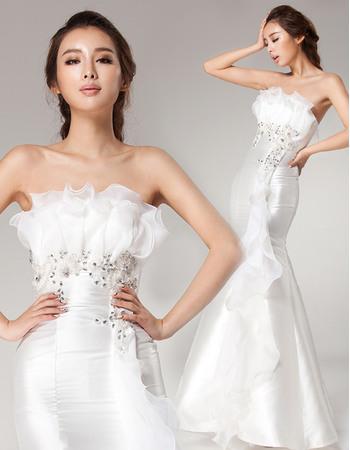 Modern and Romantic Ruffled Strapless Mermaid Full Length Organza Wedding Dresses