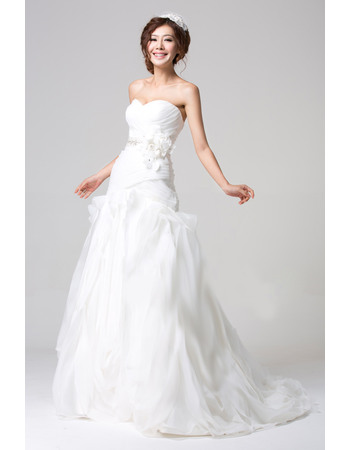 Romantic and Sophisticated Ruched Sweetheart Full Length Organza Wedding Dresses