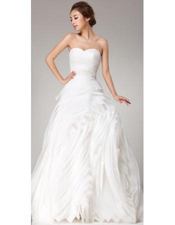Stunningly Sweetheart Floor Length Organza Wedding Dresses with Layered Ruffled skirt