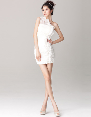 Sexy Column/ Sheath One Shoulder Sheath Chiffon Short Beach ...