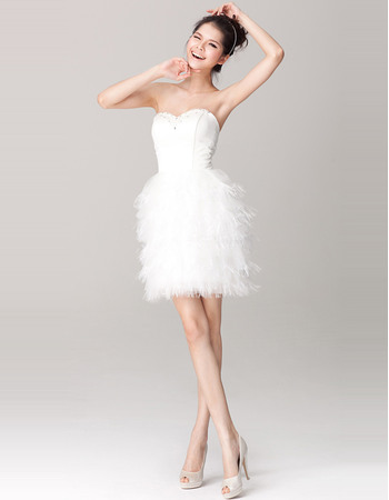 Pretty Beaded Sweetheart Column Short Wedding Dresses with Tiered Feather Skirt