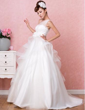 Modern One Shoulder Floor Length Satin Wedding Dresses with Layered Draped High-Low Skirt