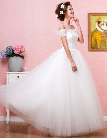 Beautiful Beading Appliques Off-the-shoulder Ball Gown Full Length Tulle Wedding Dresses