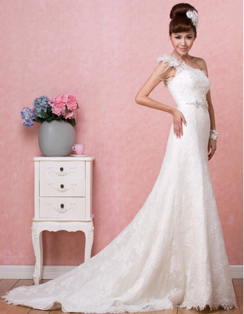 Discount Sexy One Shoulder Lace A-Line Floor Length Wedding Dresses