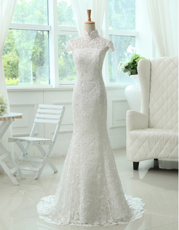Elegance Mandarin Collar Short Cap Sleeves Full Length Sweep Train Lace Wedding Dresses with Open Back