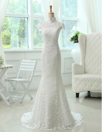 Elegance Mandarin Collar Short Cap Sleeves Full Length Sweep Train Lace Wedding Dresses with Open Back