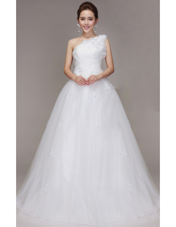 Romantic One Shoulder Flower Strap Sweep Train Tulle Wedding Dresses with Crystal Detail
