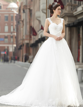 Romantic Beading Appliques Wide Straps Ball Gown Tulle Wedding Dresses