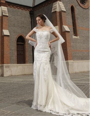 Luxury Beading Appliques Mermaid Off-the-shoulder Court Train Tulle Wedding Dresses
