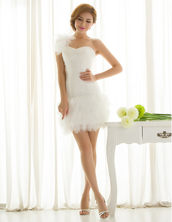 Pretty Sheath One Shoulder Tulle Short Wedding Dresses with Layered Skirt
