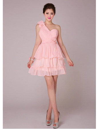 Inexpensive A-line One Shoulder Tiered Skirt Chiffon Short Bridesmaid Dresses