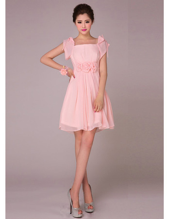 Nice A-Line Cap Sleeves Chiffon Short Empire Bridesmaid Dresses