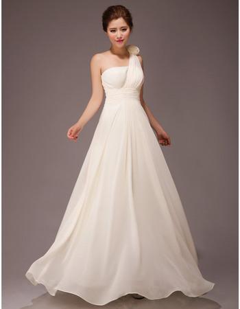 Popular One Shoulder A-Line Chiffon Floor Length Bridesmaid Dresses