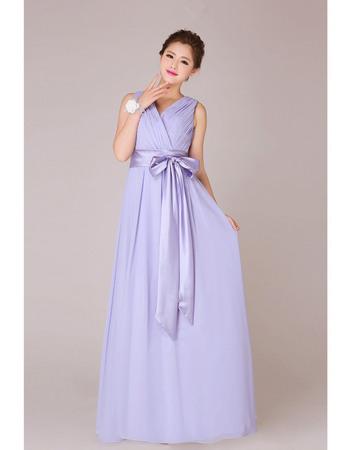 Elegant V-Neck Chiffon Floor Length A-Line Bridesmaid Dresses