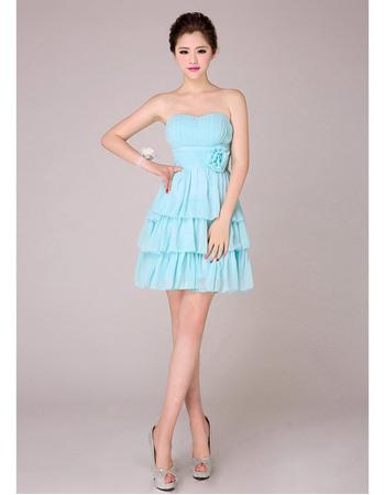 Stylish Tiered Empire Skirt Short Chiffon Sweetheart Bridesmaid Dresses