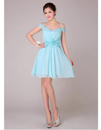 Cusotm A-Line Spaghetti Straps Short Chiffon Bridesmaid Dresses for Summer