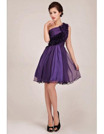 Beautiful One Shoulder Short A-Line Ruffle Bridesmaid Dresses