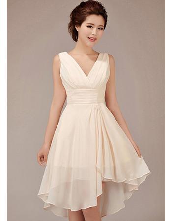 Amazing A-Line V-Neck Short Chiffon Bridesmaid Dresses