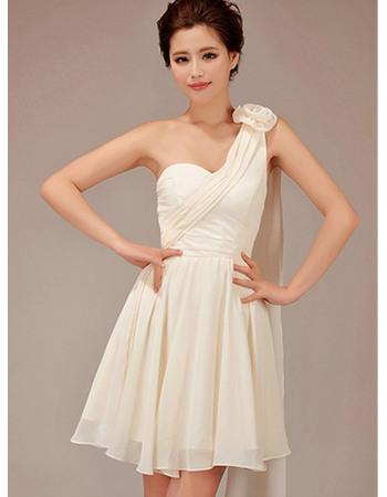 Chic A-Line One Shoulder Short Chiffon Bridesmaid Dresses for Summer Wedding