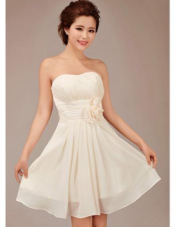 Sexy A-Line Short Sweetheart Chiffon Bridesmaid Dresses