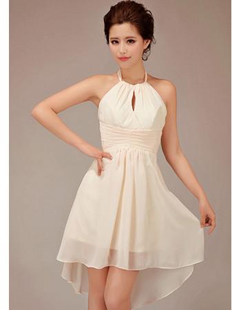 Morden A-line Halter Short Chiffon Bridesmaid Dresses for Summer Beach Wedding