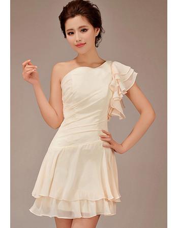 Newest Sheath One Shoulder Asymmetric Short Chiffon Bridesmaid Dresses